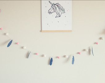 Feather Pink Grey White Garland by SquishyTotsAU on Etsy
