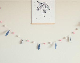 Feather Pink Grey White Garland by SquishyTotsAU on Etsy