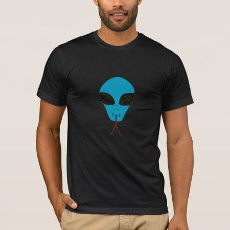 BLUE TECHNO ALIEN WITH LIZARD TONGUE MEN SHIRT - click/tap to personalize and buy