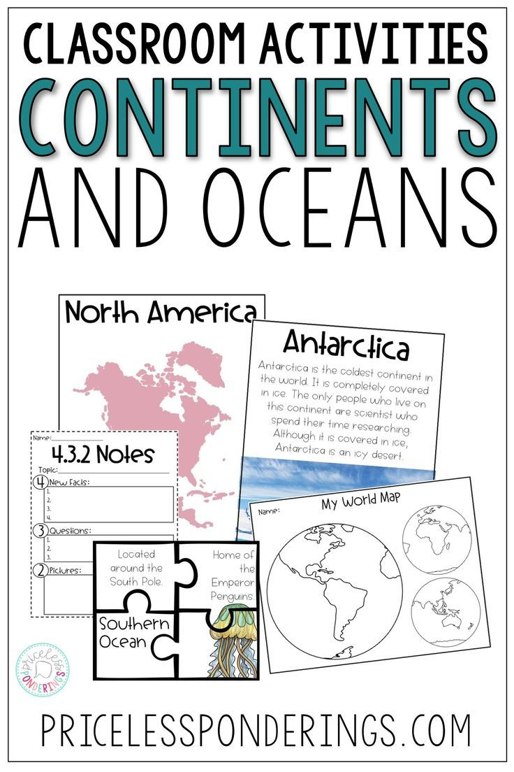 Continents And Oceans Activities And Worksheets Continents And Oceans Interactive Notebooks Social Studies Ocean Activities