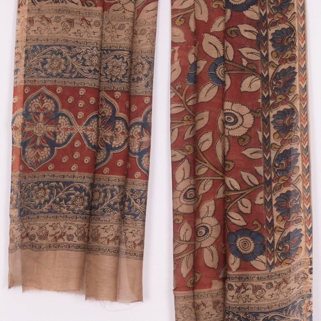 Buy online Hand Block Printed Maroon Maheshwari Kalamkari Silk Dupatta With Zari Border & Floral Motifs 10012127
