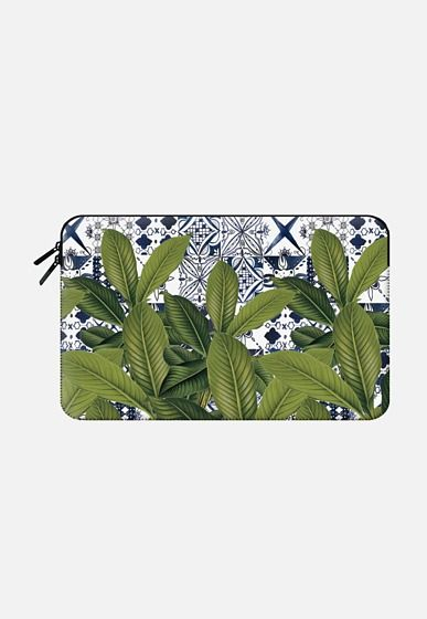 Casetify Macbook Air 11 Macbook Sleeve - Floral tropical leaves on watercolor moroccan tiles by maria kritzas #Casetify