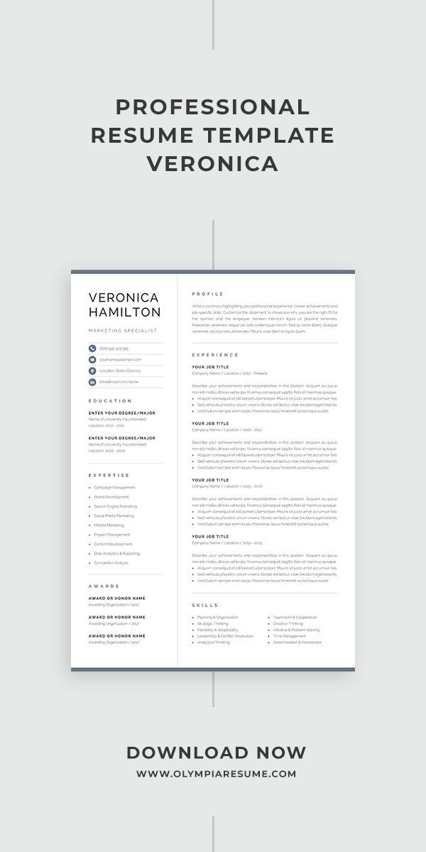 Professional Resume Template Compact 1 Page Resume Template Modern One Page Cv For Word Mac Pages Instant Download Veronica One Page Resume Template Resume Template Professional One Page Resume