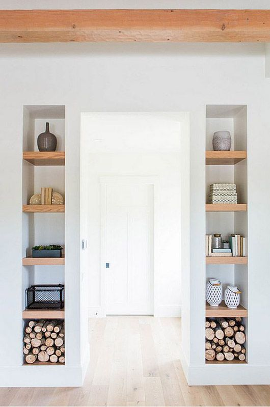 white walls with wood built-in storage shelves / sfgirlbybay