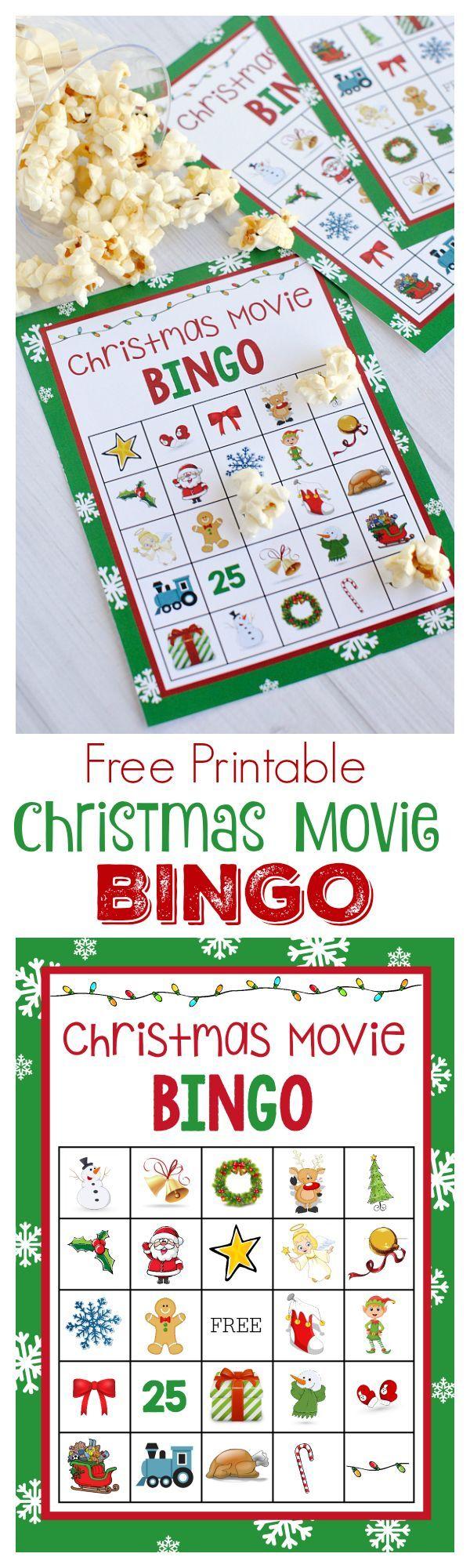 Free Christmas Movie Bingo Printable Game! See 20 more free holiday printables on www.prettymyparty.com.