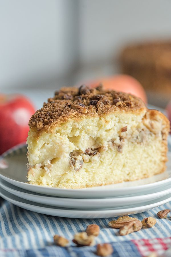 Apple Nut Sour Cream Coffee Cake A Tender Moist Apple Coffee Cake With Three Delicious Layers This I Sour Cream Coffee Cake Coffee Cake Recipes Coffee Cake