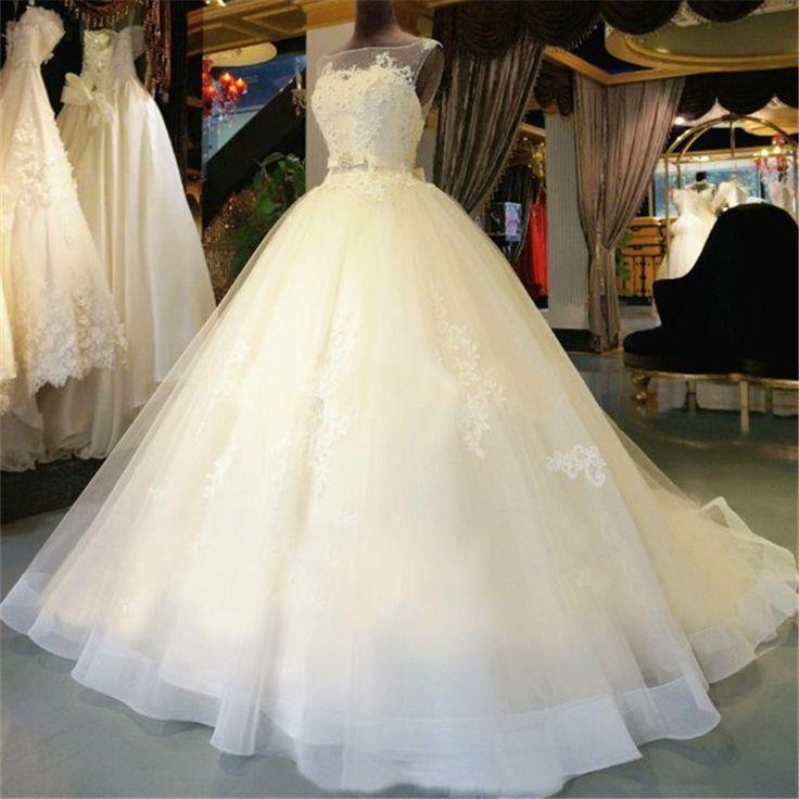 Real Beautiful Back Princess Wedding Dresses Lace Appliques Bead Wedding Gowns Bride Dress 2017 Vestido de noiva Abito da sposa