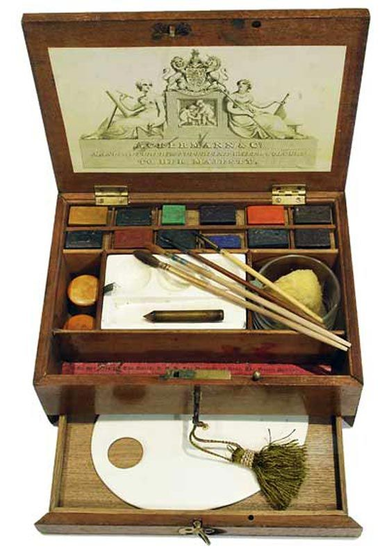 Ackerman & Co., Mahogany Watercolour Box, c1830-1840: Originals Paintings, Art Studios, Mahogany Watercolour, Paintings Boxes, C1830 1840, Watercolor Boxes, Ackerman Watercolour, Paintings Class, Watercolour Boxes