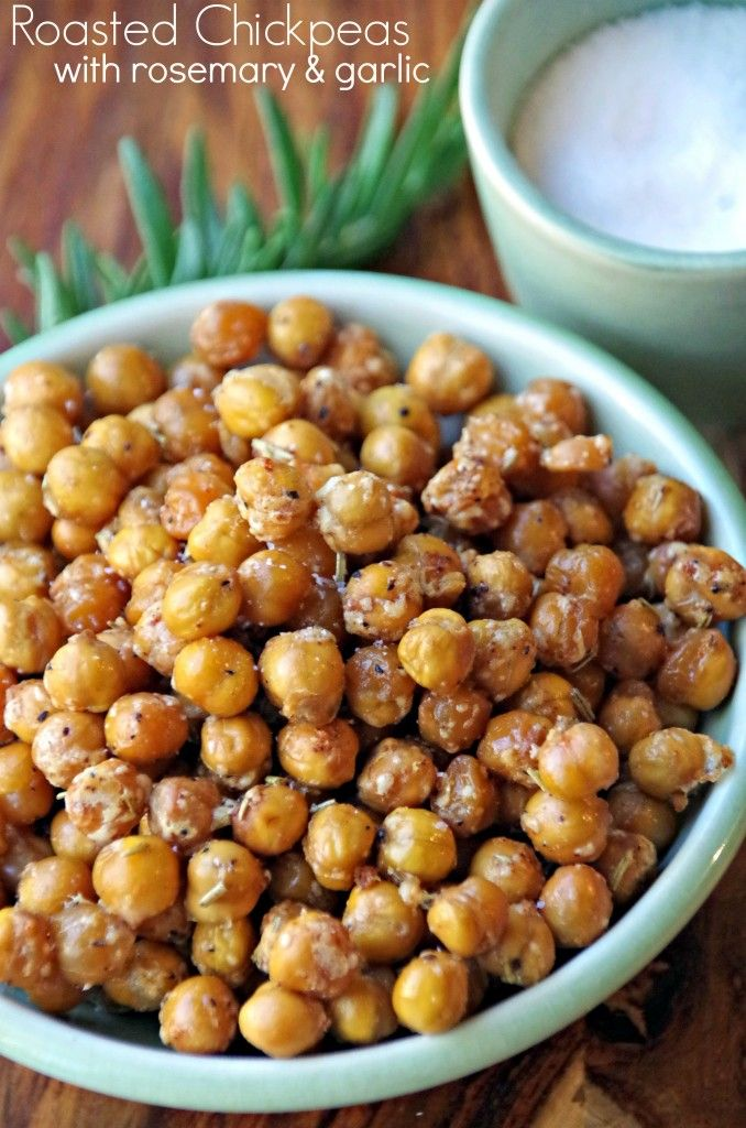 Spicy Roasted Chickpeas Snack Recipe with Rosemary and Garlic make a great high protein snack!