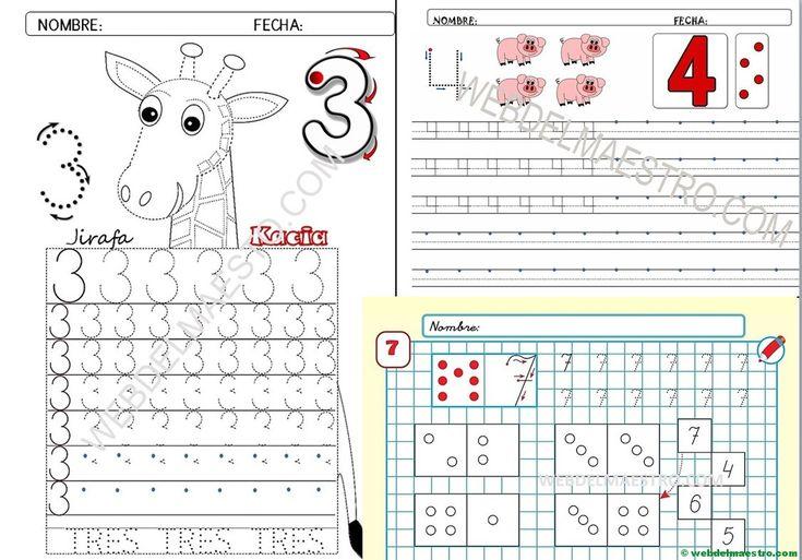 Grafomotricidad: números para descargar e imprimir - Recursos educativos y material didáctico para niños/as de Infantil y Primaria. Descarga Grafomotricidad: números para descargar e imprimir