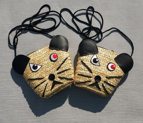 Angry Mouse Straw Handbag with Shoulder Strap by GothicChameleon