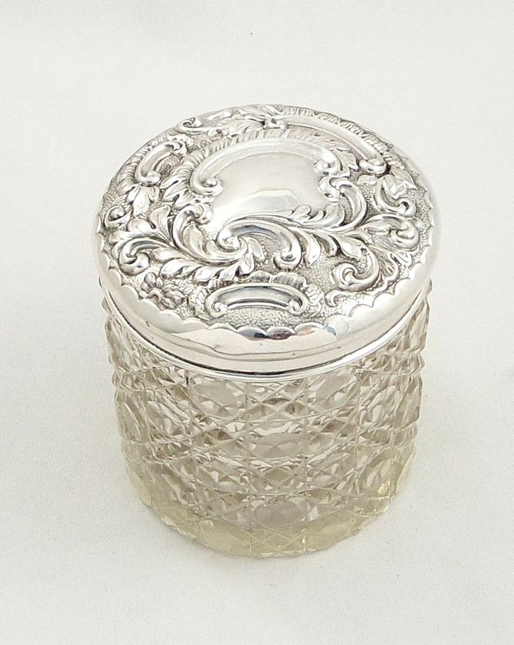 Antique Silver And Glass Jar
