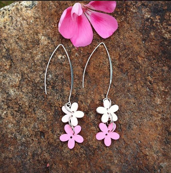 Pink button flower earrings with a silver plated long by leonorafi