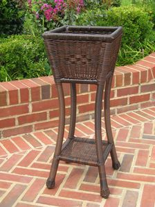 International Caravan PVC Resin Square Two-Tier Plant Stand in Antique Pecan