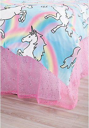 Pink Sequin Tulle Bed Skirt - Queen