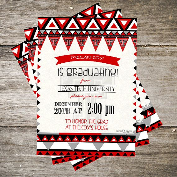 8 best texas tech graduation announcements images on pinterest texas tech graduation invitation 5x7 southwest red black gray graduation invitation aztec graduation party invitation ttu filmwisefo