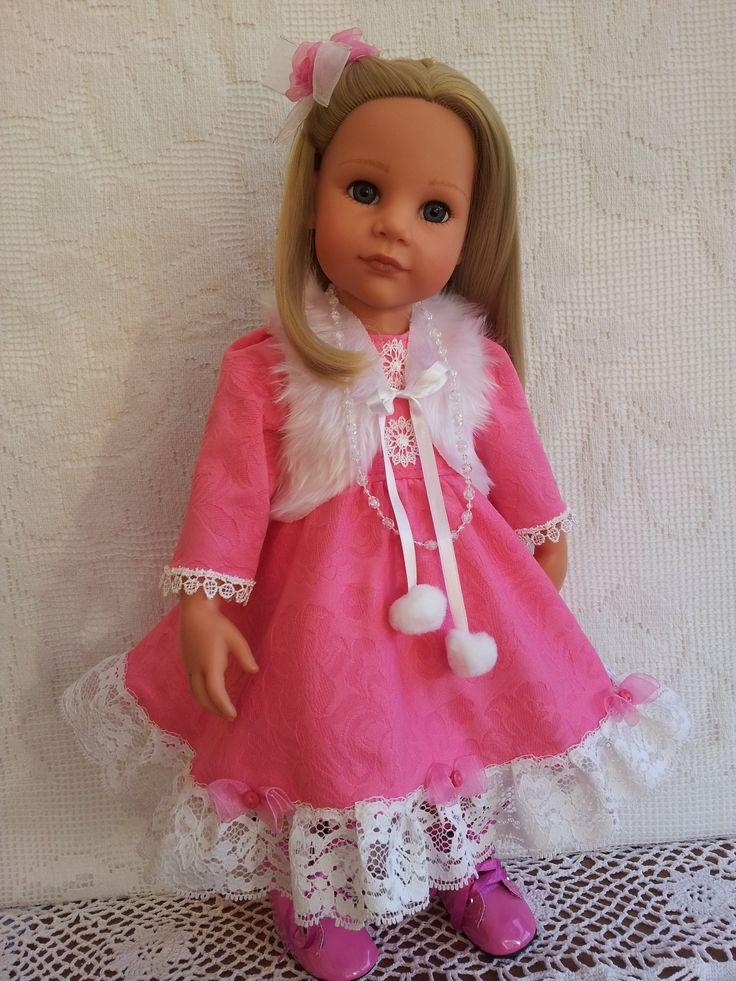 Winter Pink Dress, Fur Bolero & Hair Clip. Lovely soft fabric with a floral embossed design.  Lined bodice and tulle underskirt.