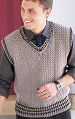 Men's V-neck Vest by Drew Emborsky - The Crochet Dude - in Crochet Today! Nov/Dec 2008 issue.