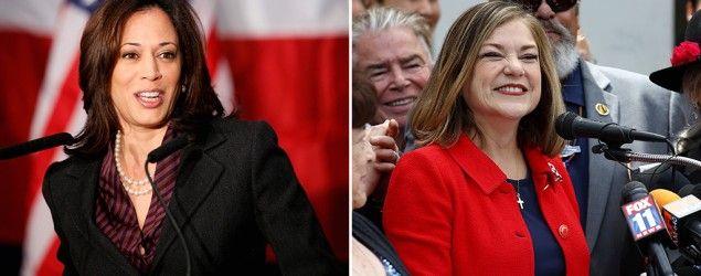 California Democrats Kamala Harris (Damian Dovarganes/AP) and Loretta Sanchez (Corbis) are running for Barbara Boxer's Senate seat.