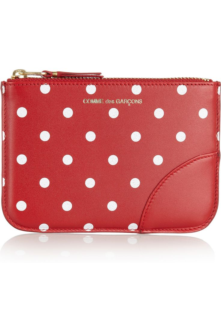 designer coin purse 6w6i  Comme des Gar莽ons coin purse: red leather, white polka dot print, gold  designer signature, fully lined Gold zip fastening Comes in a designer  presentation