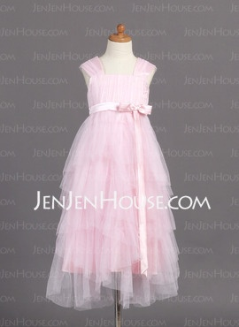 A-Line/Princess Strapless Ankle-Length Satin Tulle Flower Girl Dresses With Ruffle Sash (010005782) - JenJenHouse    Pearl Pink.  This one is  a bit pricy at 113.00 plus it would have to be ordered online.