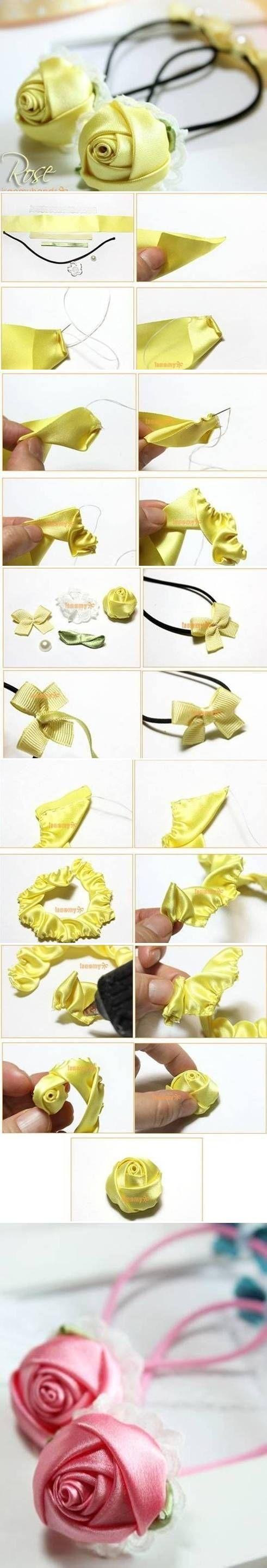 DIY Satin Roses diy craft crafts diy crafts how to craft flowers tutorials hair accessories