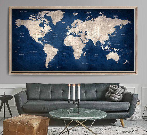 Large World Map World Map Art Print World Map Wall Art World