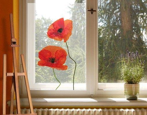 Fensterbild Charming Poppies #Fensterbild #Fenstersticker #Fensteraufkleber #windowsticker #Fenstertattoo #Mohnblume