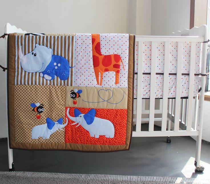 3 pieces Crib Infant Room Kids Baby Bedroom Set Nursery Bedding Animal Brown cot bedding set for newborn baby boy