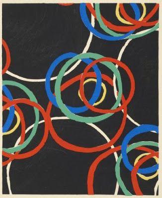 """Liubov Popova, Embroidered Book Cover, ca, 1923-24, silk thread on grosgrain, 18 x 12"""""""