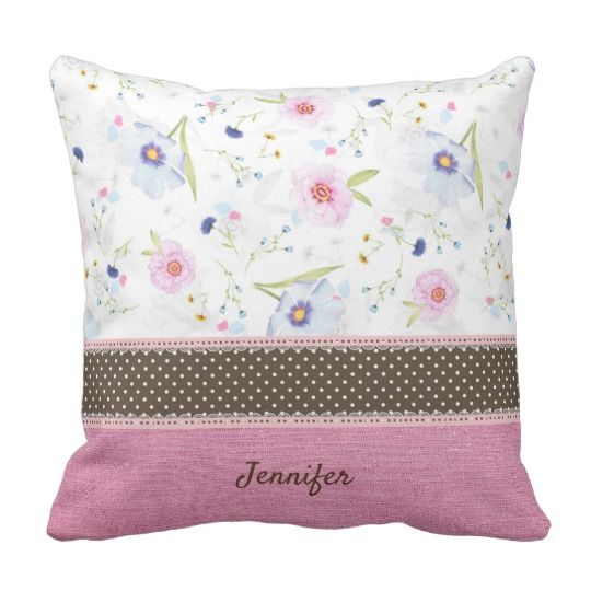 Lovely watercolor floral, pink linnen and lace, personalized pillow.