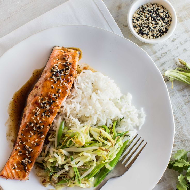 My Food Bag - Nadia Lim - Recipes - Kaffir Lime and Coconut Sugar Glazed Salmon with Sesame Stir-Fry and Rice