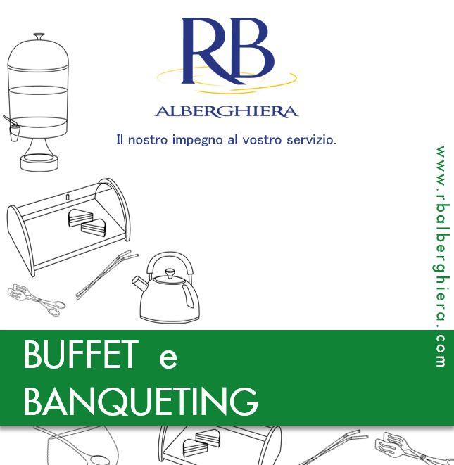 Qui trovi tutte le attrezzature #catering per i tuoi #buffet: espositori, vassoi, insalatiere, tazze, distributori di bevande, cestini per il pane, macchine per il caffè e chafing-dish, accessori per la colazione.#RBAlberghiera #forniturealberghiere #ricevimento ##attrezzaturaprofessionale