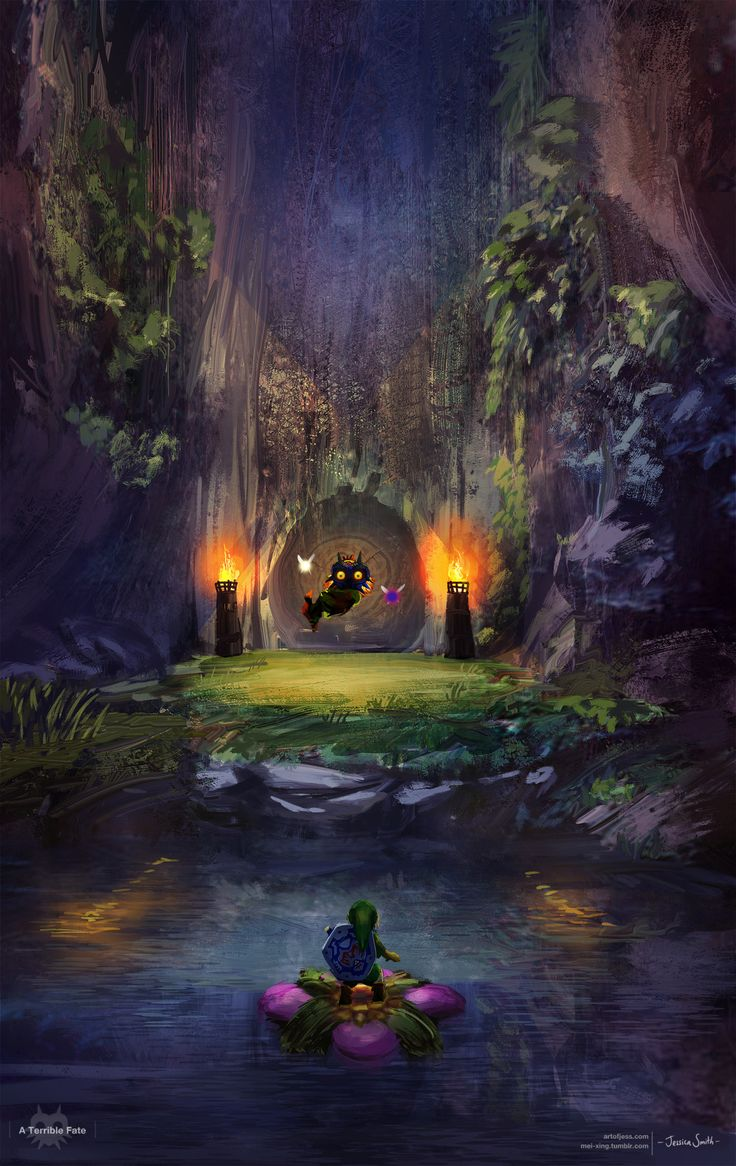 Link falls in a pit after Skull kid who kidnapped Epona. Falls down magical tunnel entering Termina