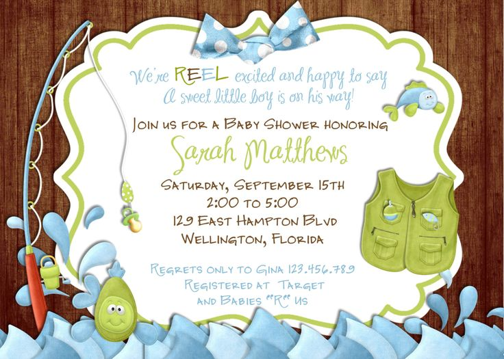 Rustic Fishing Baby Shower Invitation Fish and Rod  by 3PeasPrints, $20.00