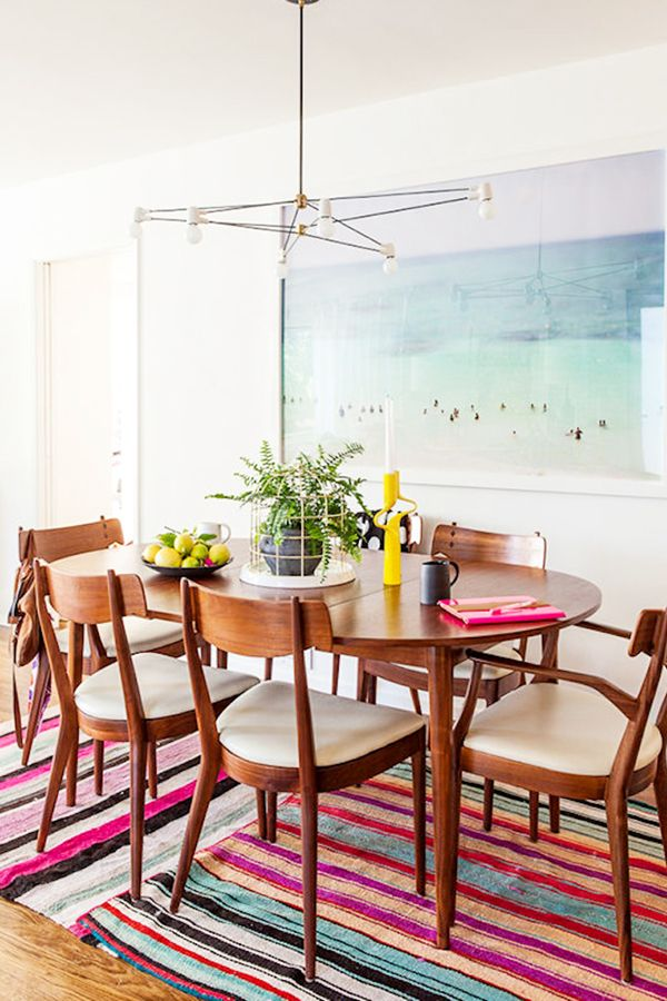 Layered Stripe Rug In Dining Room