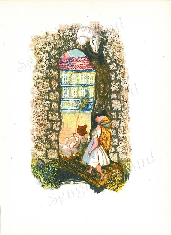 The Goose Girl 1960s Fairy Tale Illustration by Jiri Trnka SeagullIsland, $8.00