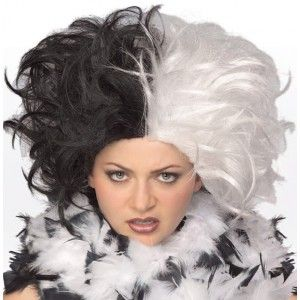 Perruque Dalmatia femme Look Cruella De Vil des 101 Dalmatien