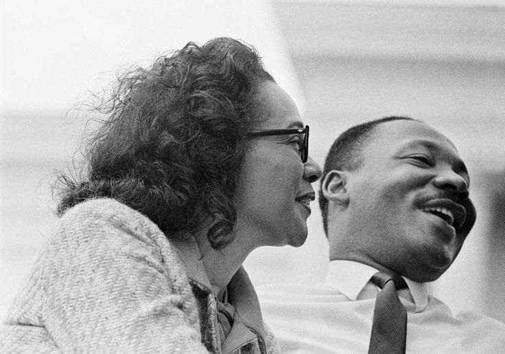Coretta Scott King and husband civil rights leader Rev. Martin Luther King, Jr., on platform at end of 1965 Selma to Montgomery, Alabama civil rights march. Photo: Stephen F. Somerstein, Getty Images / Somerstein 1965