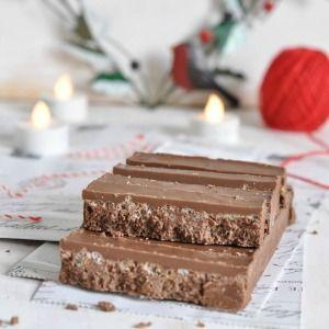 Receta de turrón de chocolate y arroz inflado, haz tu propio turrón casero Suchard de forma casera. Muy fácil y sencillo de hacer. Ingredientes y pasos.