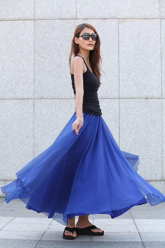 Fairy Retro Chiffon Maxi Skirt Big Sweep Long by Sophiaclothing
