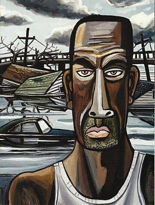 Hurricane 'Katrina Portrait 1' (2006) by American painter David Bates (b.1952). via Arthur Roger Gallery