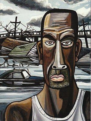 Hurricane 'Katrina Portrait 1' (2006) by American painter David Bates (b.1952). via Arthur Roger Gallery