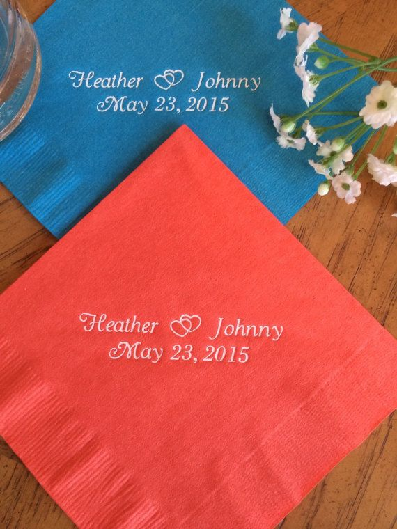 Personalized Napkins Wedding Cocktail Luncheon Available Anniversary Monogram Custom Coral
