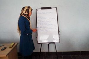 Beheshta is a 20 year old Afghan woman who recently completed classes offered by the UN Women-supported ICT Centre in Parwan Province, northeastern Afghanistan. Beheshta now teaches English to new students at the Centre. Photo: Fahim Akbari