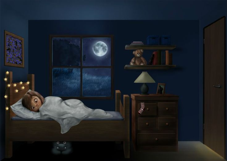 Illustration of child kept awake by monster under the bed