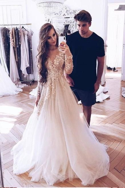 A-Line Long Sleeves Tulle Prom Dress with Appliques, Wedding Dresses OKF18