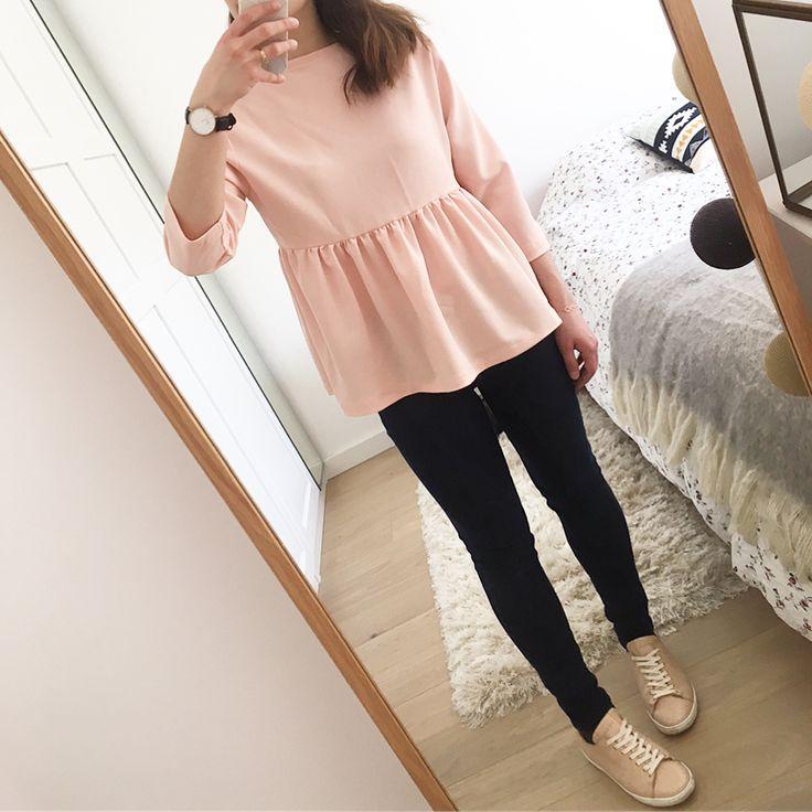 """231 Me gusta, 23 comentarios - Sarah 🌸 (@ptite_perle) en Instagram: """"Pas mal la petite blouse péplum portée avec le décolleté dans le dos 💕 #blouse #péplum #rose…"""""""