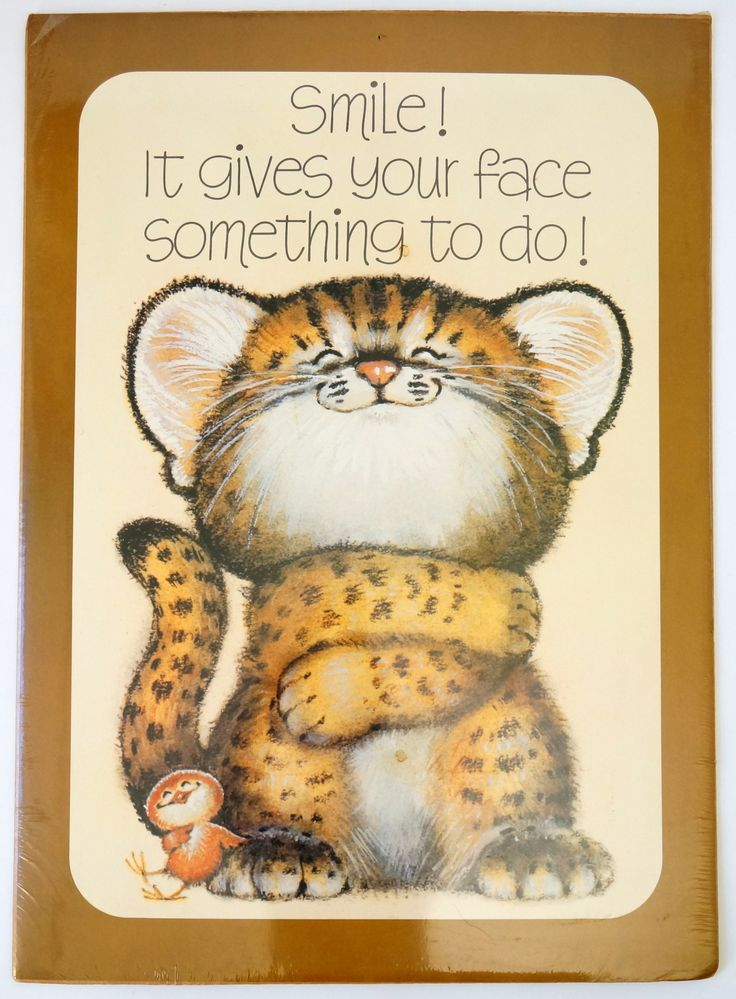 Vintage Hallmark Critter Sitters Large 28x20 Poster Sealed / Smile! It Gives Yours Face Something To Do! / 1980s Childs Room Decor