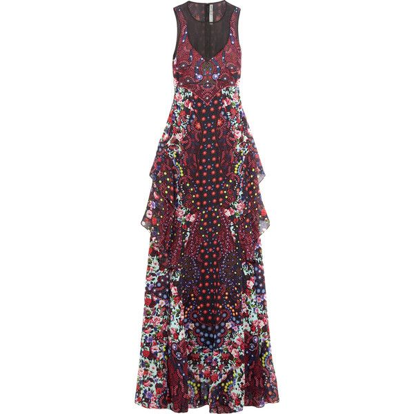Mary Katrantzou Macarthur ruffled printed silk-chiffon maxi dress ($1,555) ❤ liked on Polyvore featuring dresses, red, colorful maxi dress, multi colored maxi dresses, petite dresses, multi color maxi dress and frilly dresses